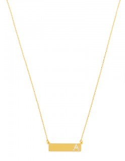 Gold initial bar necklace from Bauble Bar