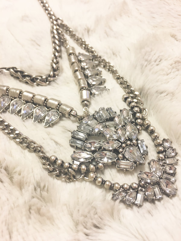 Statement Necklace Silver Bling Target